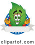 Mascot Vector Cartoon of a Smiling Leaf Mascot Cartoon Character with Stars and a Blank Label by Toons4Biz