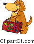 Mascot Vector Cartoon of a Traveling Brown Dog Mascot Cartoon Character Carrying Luggage by Toons4Biz