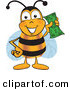 Mascot Vector Cartoon of a Yellow Bee Mascot Cartoon Character Holding a Dollar Bill by Toons4Biz