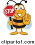 Mascot Vector Cartoon of a Yellow Bumblebee Mascot Cartoon Character Holding His Hand out and a Red Stop Sign by Toons4Biz