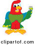 Vector Cartoon of a Macaw Parrot Mascot Holding a Missing Tooth by Toons4Biz