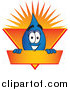 Vector Cartoon of a Water Drop Mascot on an Orange and Yellow Label by Toons4Biz
