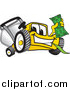 Vector Cartoon of a Yellow Lawn Mower Mascot Character Holding Cash Money by Toons4Biz